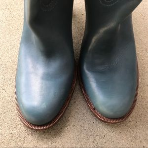 Gucci Shoes - Gucci Teal Blue Leather Boots Size 11